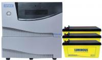 Luminous 2.5KVA Pure Sinewave Inverter and 3 X12V 200Ah SMF Battery and Battery Rack
